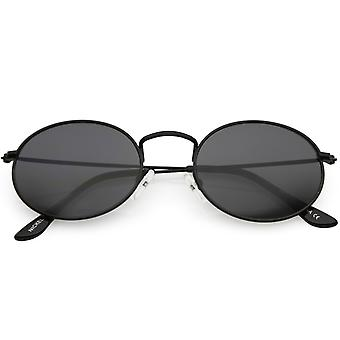 Small Metal Oval Sunglasses Slim Arms Neutral Colored Lens 51mm
