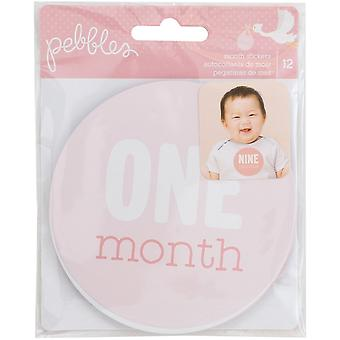 Lullaby First Year Age Stickers 12/Pkg-Baby Girl-Ages 1 Month Through 12 Months