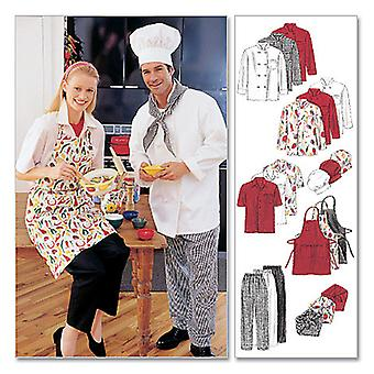 Misses' and Men's Jacket, Shirt, Apron, Pull-On Pants, Necke-SML -*SEWING PATTERN*