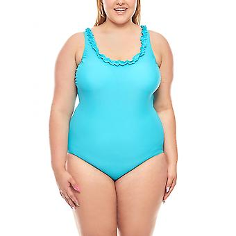 Belly way swimsuit E Cup big bust large size turquoise heine