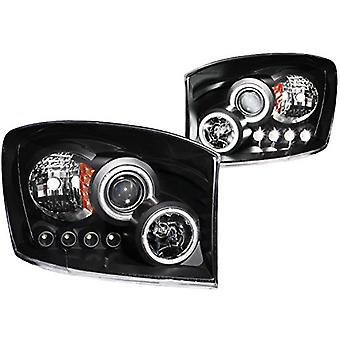 Anzo USA 111104 Dodge Ram Projector Halo Black Clear AmberHeadlight Assembly - (Sold in Pairs)