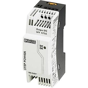 Phoenix contacto STEP-PS/1AC/24DC/0.75 Rail mounted PSU (DIN) 24 Vdc 0,83 A 18 W 1 x