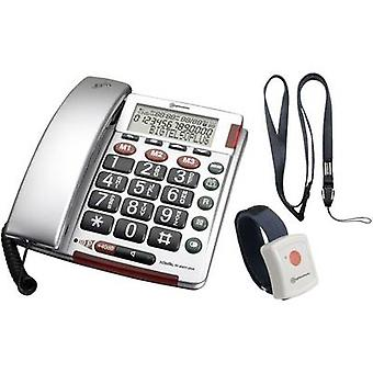 Amplicomms BIGTEL 50 Alarm Plus Corded Big Button Visual call notification, Hands-free Backlit Silver