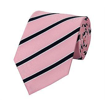 Schlips Krawatte Krawatten Binder 8cm rosa weiß schwarz gestreift Fabio Farini