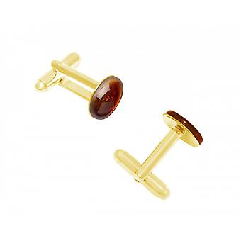 Men - cuff links - gold plated - amber - yellow - orange - 16 mm