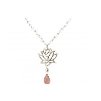 Drops ladies necklace - pendant - 925 Silver - Lotus Flower - Rose Quartz – - Rosa - YOGA - 45 cm