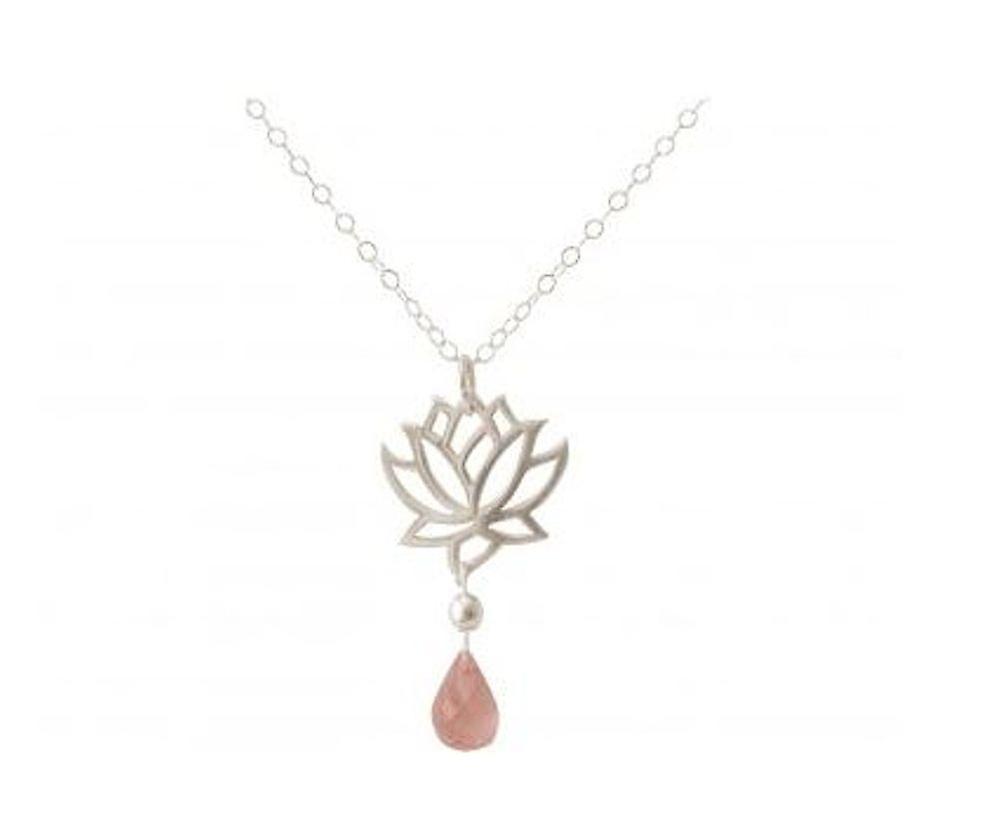 Gouttes de Les dames Collier - pendentif - 925 argent - fleur de Lotus - Quartz Rose-- rose - YOGA - 45 cm