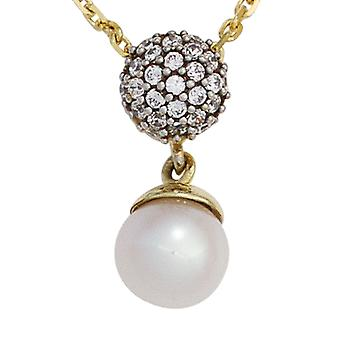 Pearl pendant 333 gold yellow gold part rhodium plated 1 Freshwater Pearl with cubic zirconia