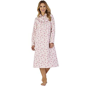 Slenderella ND2211 Frauen Luxus Flanell Floral Night Gown Loungewear Nachthemd