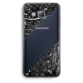 Samsung Galaxy J3 (2016) Transparent Case (Soft) - Black marble