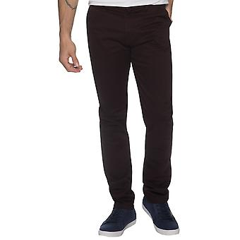 Hombres Tapered Fit pantalones Stretch Borgoña | Menswear diseñador Enzo