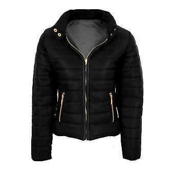 Ladies Padded Quilted Elastic Sides Zipper Popper Collar Puffer Lined Warm Coat