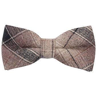 Knightsbridge Neckwear Checked Bow Tie - Beige/Brown