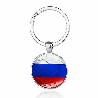 TRIXES Russia Flag White Blue Red Metal Circular Keyring
