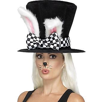 Tea Party maart haas Top Hat, zwarte & wit, met bijgevoegde oren van het konijn