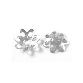 Packet 800+ Silver Tone Plated Iron Flower Bead Caps 6mm HA02540