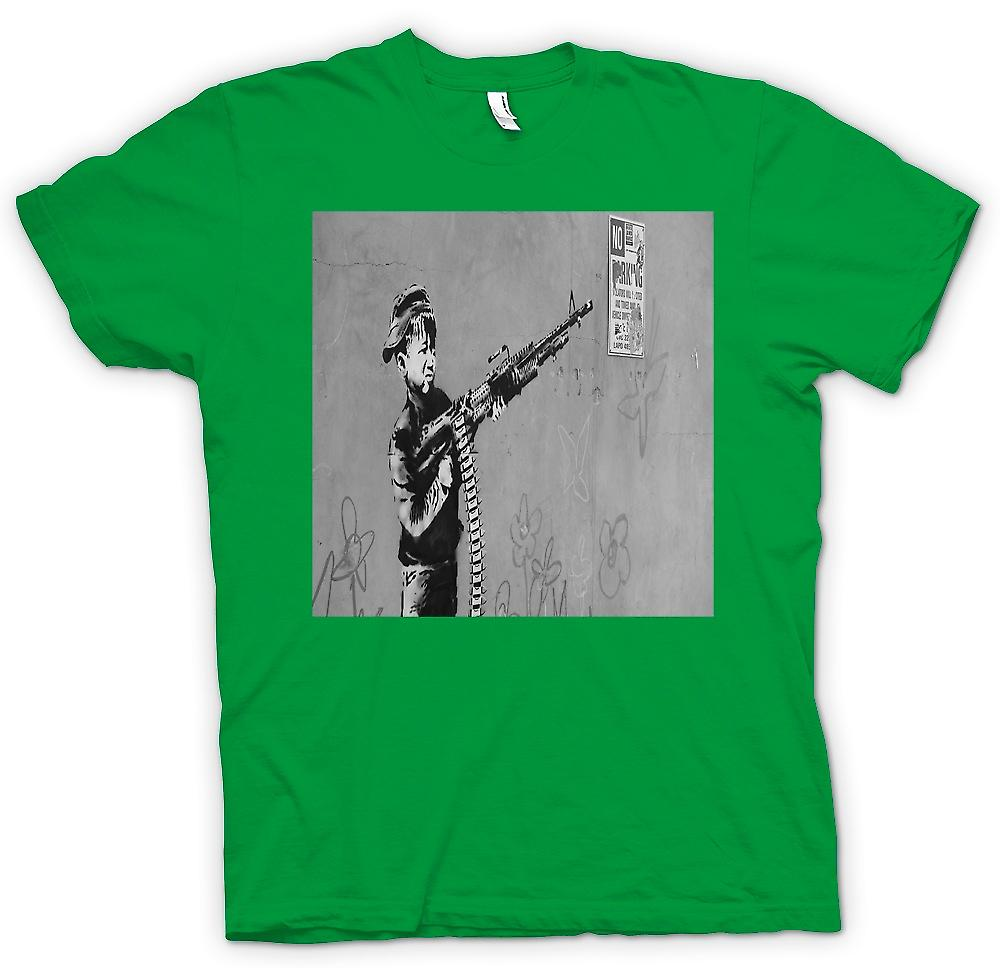 Mens T-shirt - Banksy Kid With M60 Machien Gun Wall Design