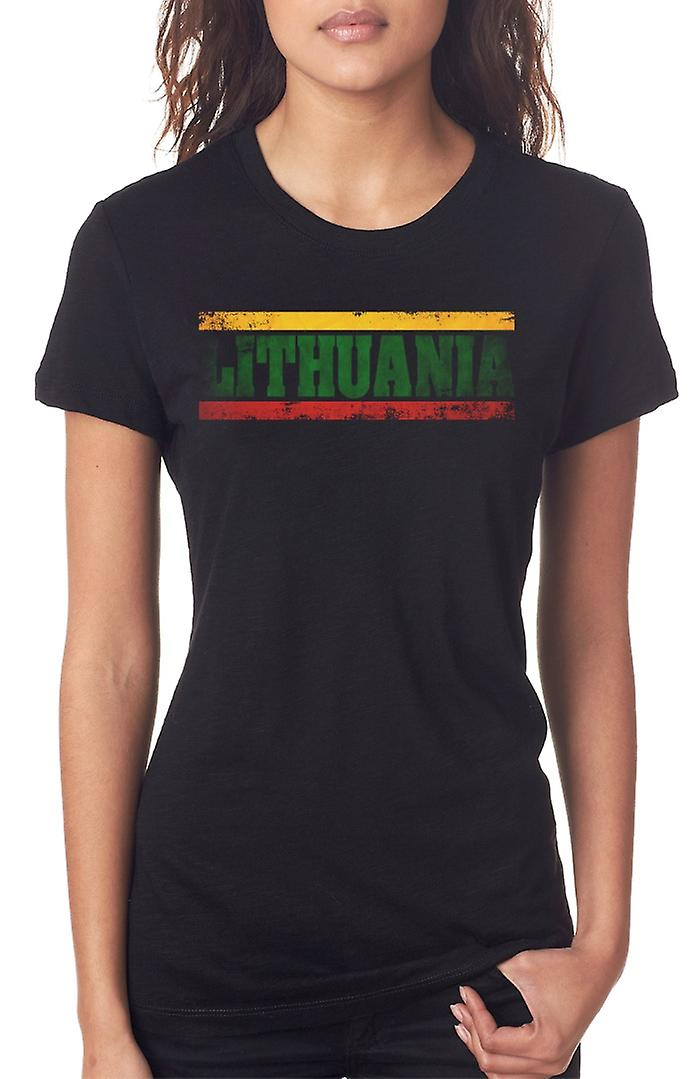 Lithuania Lithuanian Flag - Words Ladies T Shirt