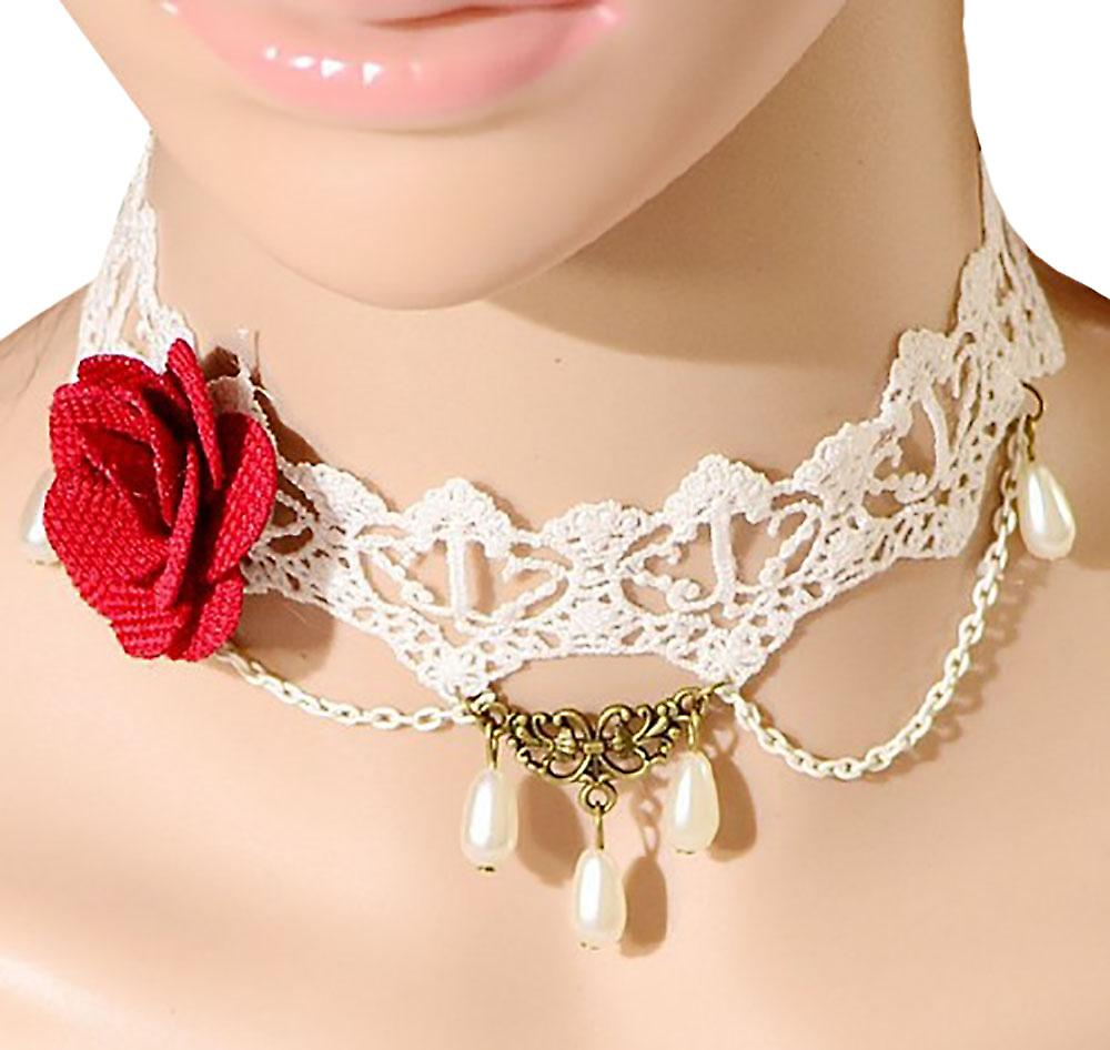 Waooh - lace choker with beads RAAC