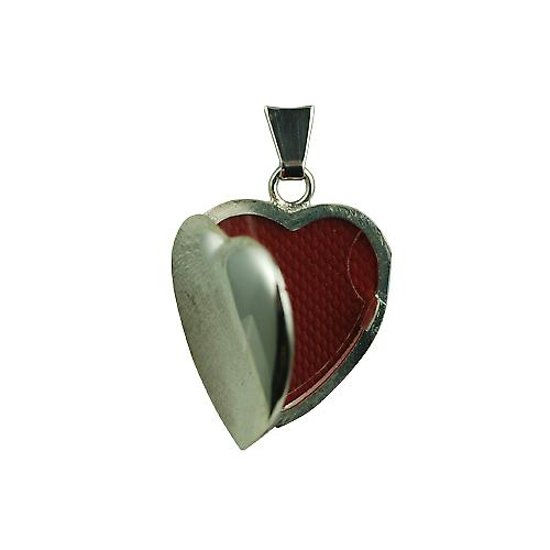 Silver 21x19mm plain heart shaped Locket