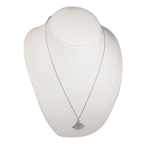 Silver 23x30mm Hand Fan Pendant with a Curb chain