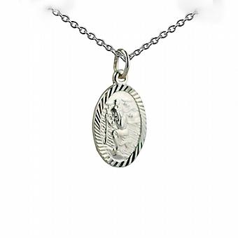 Silver 17x11mm oval diamond cut edge St Christopher Pendant with a rolo Chain 24 inches