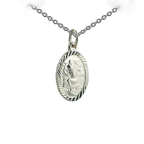 Silver 17x11mm oval diamond cut edge St Christopher Pendant with a rolo Chain 14 inches Only Suitable for Children