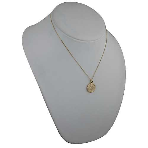 18ct yellow gold 20mm round St Christopher Pendant with a curb chain