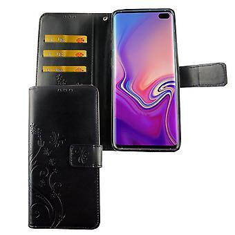 S10 de Samsung Galaxy plus bolsa de protección caso de teléfono celular tapa Flip caso Compartimiento negro