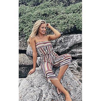 IKRUSH Womens Madison Stripe Bandeau Wide Leg Jumpsuit