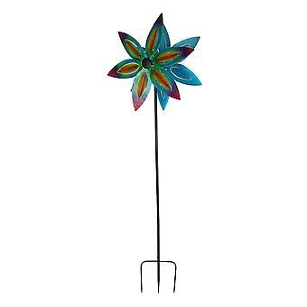 الملونة المعادن الفن زهرة مزدوجة حديقة Twirler الرياح سبينر 74 بوصة طويل القامة
