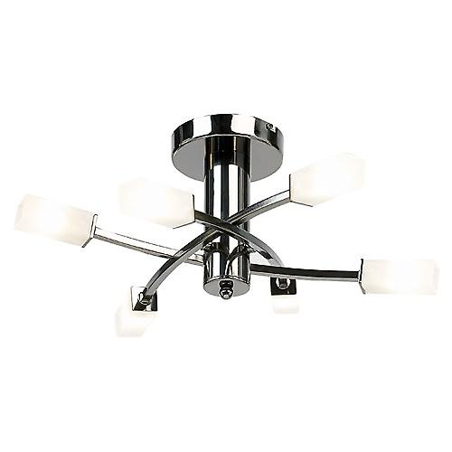 Endon 146-6BC Modern 6 Arm Ceiling Light With Acid Glass