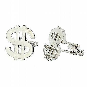 Jakob Strauss Gents Silvertone Dollar Sign Cufflinks