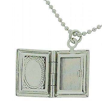 The Olivia Collection Silvertone Book Locket Pendant On 16