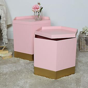 Pair of Pink & Gold Hexagon Storage Tables