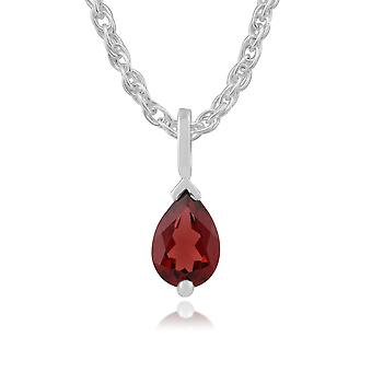 9ct White Gold 0.75ct Garnet Single Stone Classic Pear Pendant on Chain