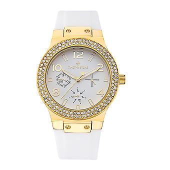 Timothy Stone Women's FACON-SILICONE Gold-Tone and White Strap Watch
