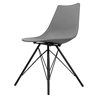 Fusion Living Iconic Mid Grey Plastic Dining Chair With Black Metal Legs Fusion Living Iconic Mid Grey Plastic Dining Chair With Black Metal Legs Fusion Living