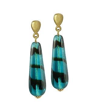 Eternal Collection Teal Tortoiseshell Glass Teardrop Gold Tone Drop Clip On Earrings