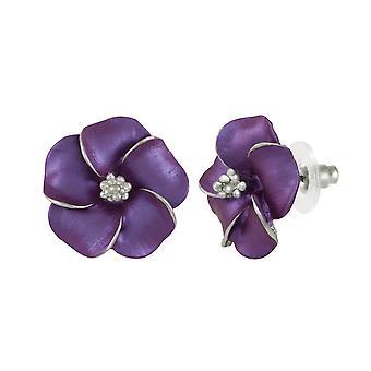 Eternal Collection Pansy Purple Enamel Silver Tone Pierced Earrings