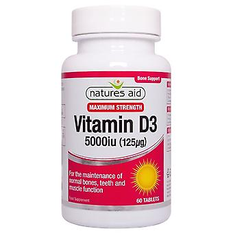Nature's Aid Vitamine D3 5000iu (125ug) Comprimés à haute résistance 60