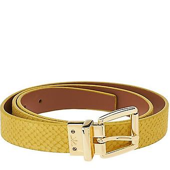 Isaac Mizrahi Live! Reversible Leather Strap Belt M L Lemonade Lt Cog A264211