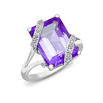 Jewelco London 18ct White Gold 4 Claw G SI1 0.04ct Diamond and Emerald Purple 7ct Amethyst Cocktail Solitaire Ring 16mm