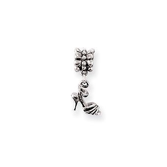 925 Sterling Silber antike Finish Reflexionen High Heel Schuh baumeln Perle Charme