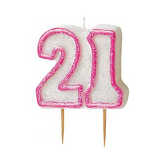 SALE - Pink Glitz Milestone Ages Birthday Candle Pick -  Age 21