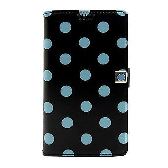 Small Universal Slider Folio Black - Blue Polka Dots