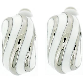 Clip On Earrings Store White Enamel & Silver Swirl Semi Hoop Clip On Earrings