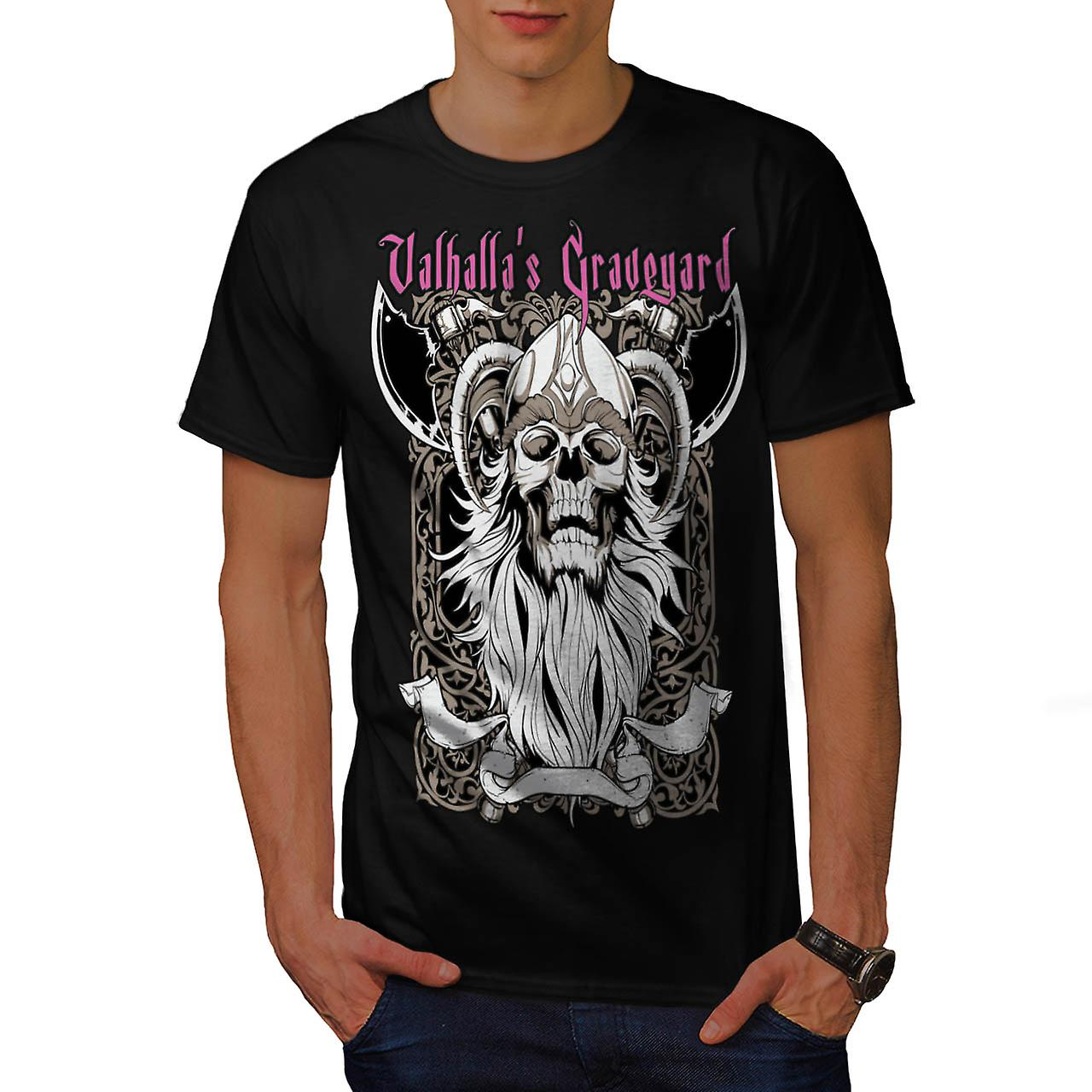 Valhalla Graveyard Monster Skull Men Black T-shirt | Wellcoda
