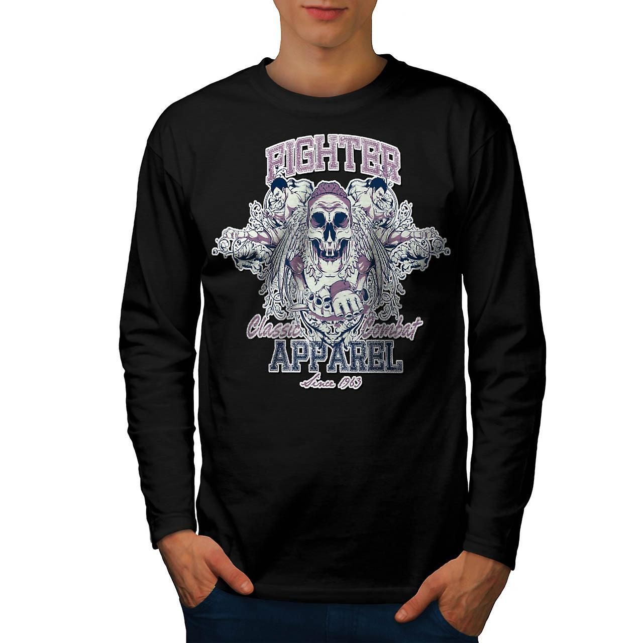 Fighter Classic Team Dead Combat Men Black Long Sleeve T-shirt | Wellcoda