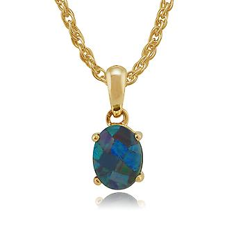 9ct Yellow Gold 1.10ct Triplet Opal Oval Cabochon Pendant on 45cm Chain
